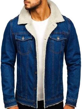 Чоловіча джинсова куртка темно-синя Bolf 1109