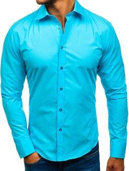 Элегантная мужская рубашка с длинным рукавом светло-синяя Bolf 1703