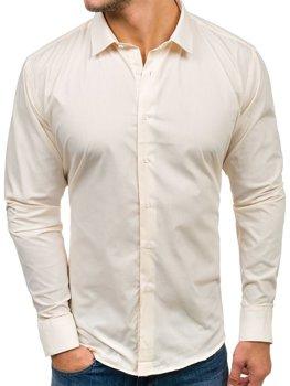 Элегантная мужская рубашка с длинным рукавом экрю Bolf TS100