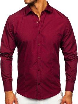 Мужская элегантная рубашка с длинным рукавом бордовая Bolf 1703