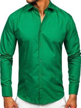 Мужская элегантная рубашка с длинным рукавом темно-зеленая Bolf 1703