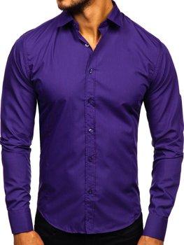 Мужская элегантная рубашка с длинным рукавом фиолетовая Bolf 1703