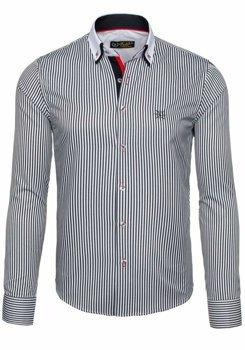 Бело-черная мужская элегантная рубашка в полоску с длинным рукавом Bolf 5758