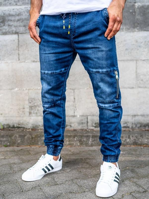 Брюки  джоггеры джинсовые мужские темно-синие Bolf KA752
