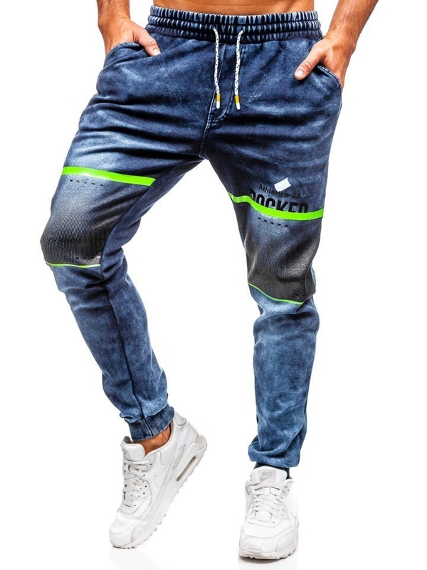 Брюки мужские джинсовые джоггеры темно-синие Bolf kk1059