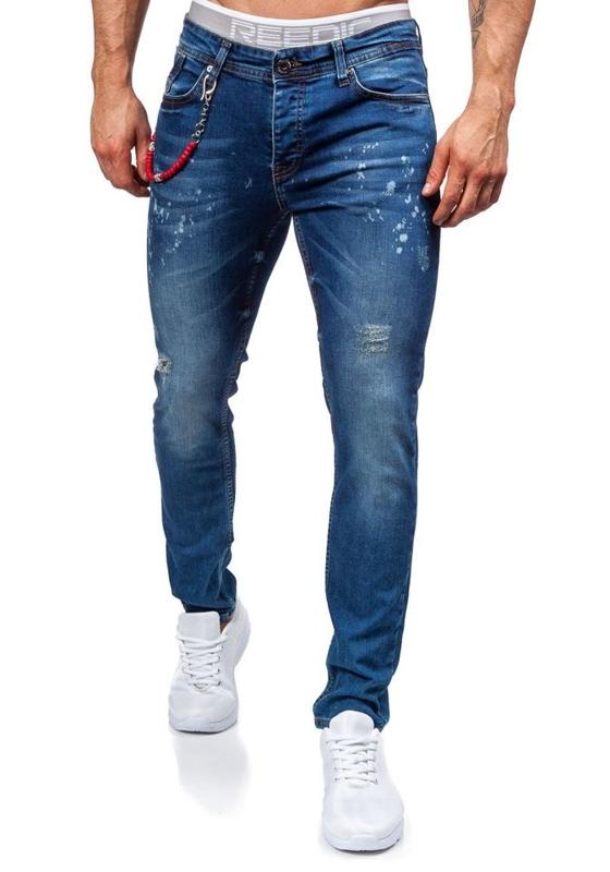 Джинсы мужские slim fit темно-синие Bolf 303