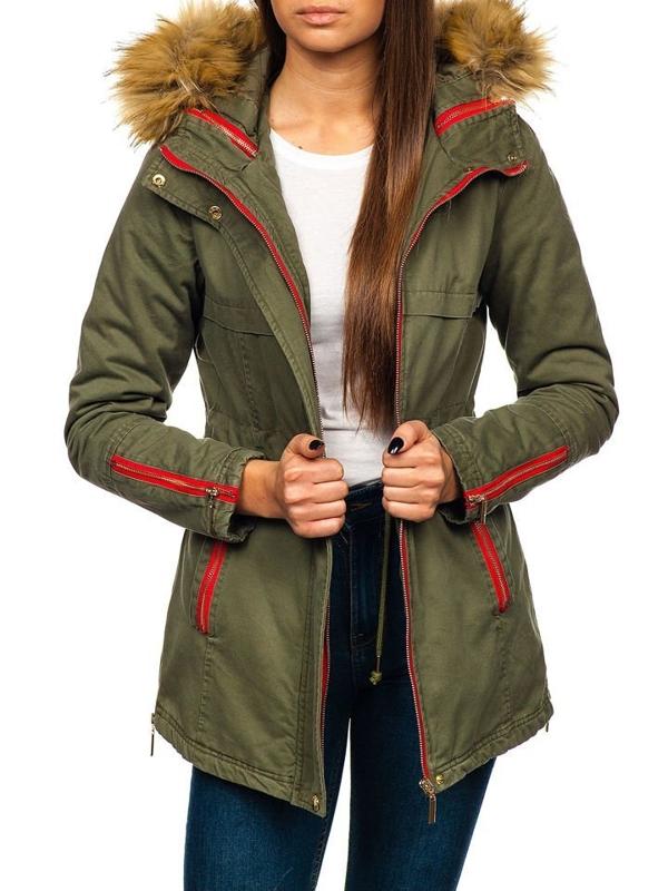 Женская зимняя куртка зеленая Bolf M888