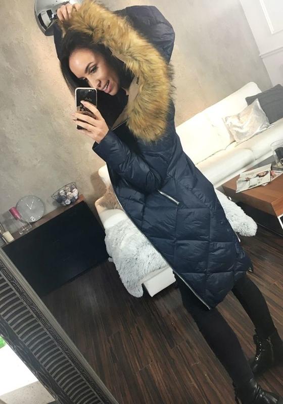Женская зимняя куртка темно-синяя Bolf 8069