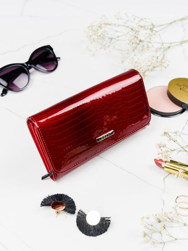 Женский кожаный кошелек красный 2095