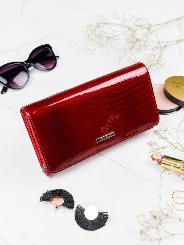 Женский кожаный кошелек красный 2111