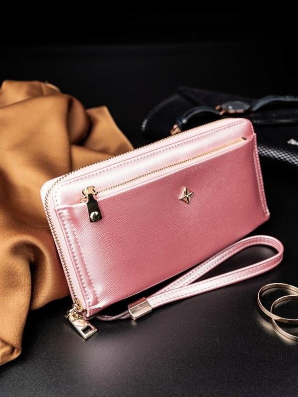 Женский кошелек с эко кожи розовый 1810