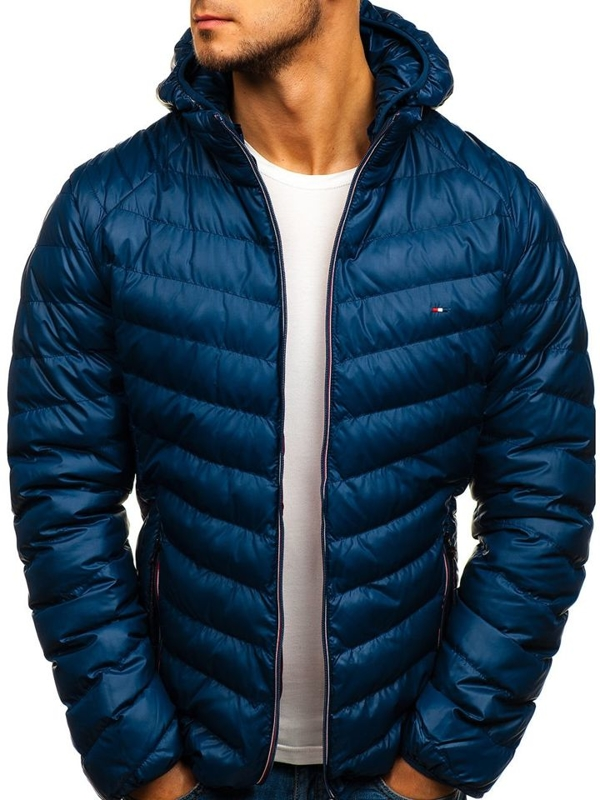 Куртка мужская демисезонная спортивная темно-синяя Bolf 1852