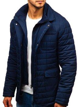 Куртка мужская демисезонная элегантная темно-синяя Bolf EX201