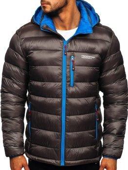 Куртка мужская зимняя спортивная стеганая графитовая Bolf BK145