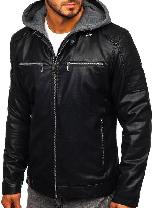 Куртка мужская кожаная с капюшоном черная Bolf 1106