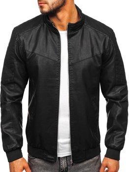 Куртка мужская кожаная черная Bolf 1123