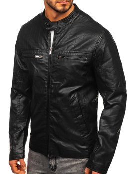 Куртка мужская кожаная черная Bolf 1130