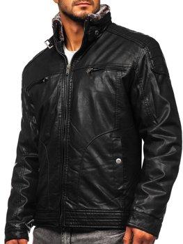 Куртка мужская кожаная черная Bolf EX839