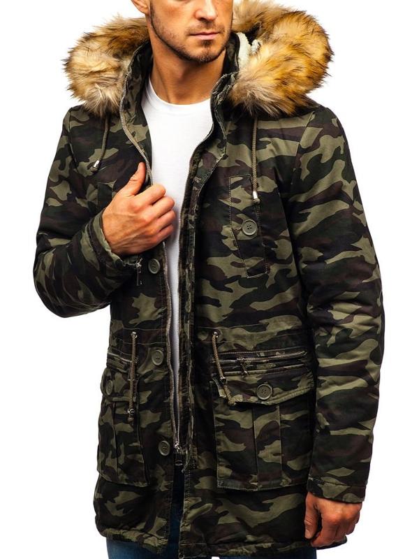 Мужская зимняя куртка парка камуфляж-зеленая Bolf 88620
