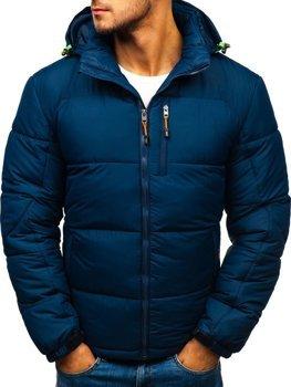 Мужская зимняя спортивная куртка темно-синяя Bolf AB71