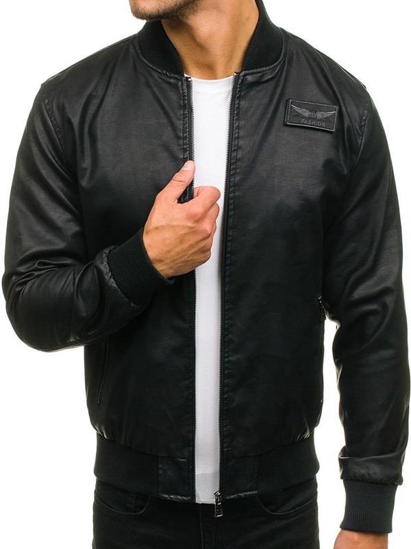 Мужская кожаная куртка бомберка черная Bolf 4816