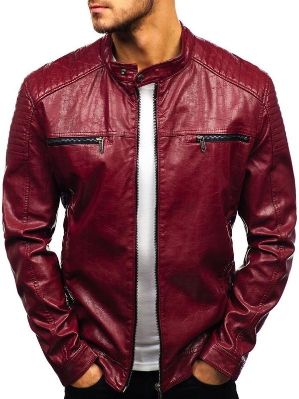 Мужская кожаная куртка бордовая Bolf ex390-A