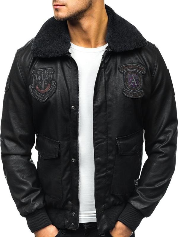 Мужская кожаная куртка пилот черная Bolf 4788