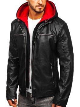Мужская кожаная куртка с капюшоном черно-красная Bolf 6131