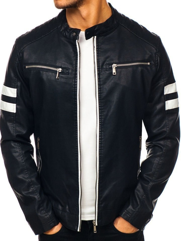 Мужская кожаная куртка черная Bolf 1075