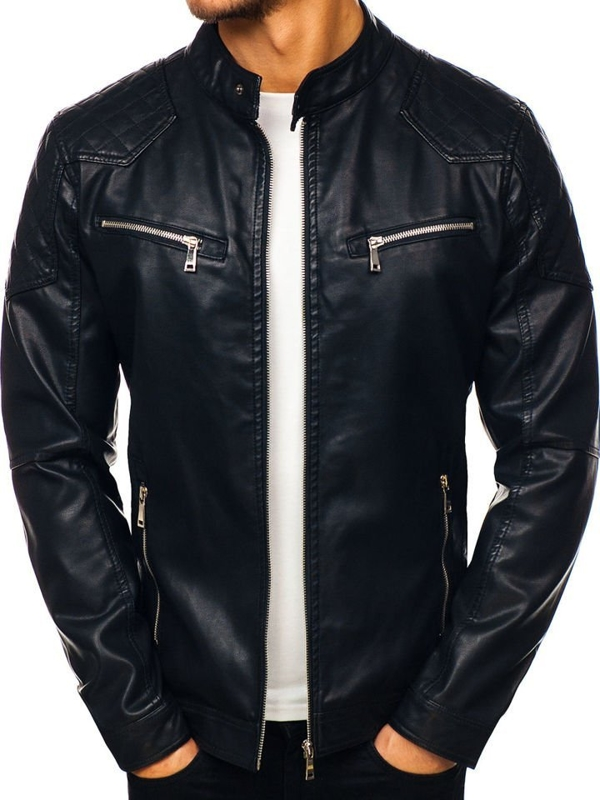 Мужская кожаная куртка черная Bolf 1078