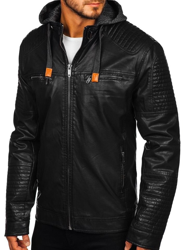 Мужская кожаная куртка черная Bolf EX891