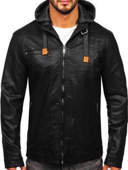 Мужская кожаная куртка черная Bolf EX892