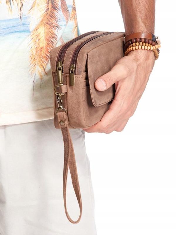 Мужская кожаная сумка коричневая 2442