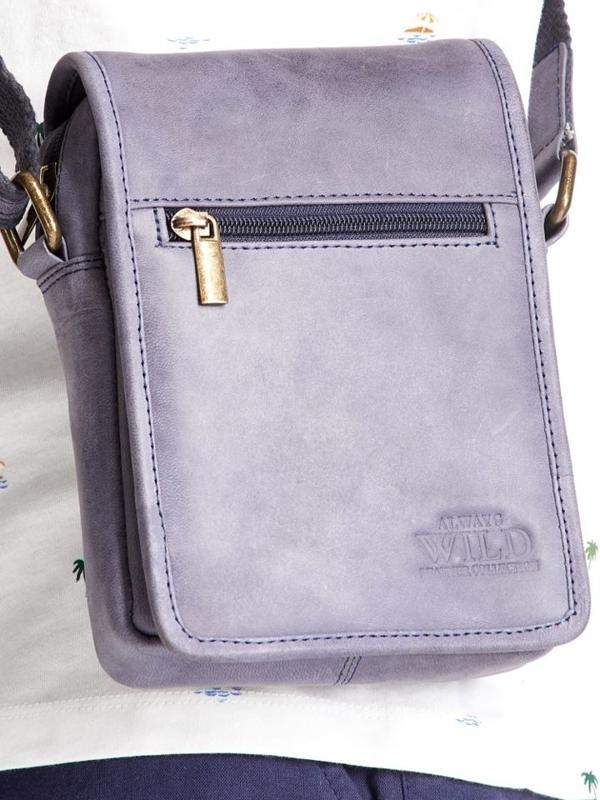 Мужская кожаная сумка темно-синяя 2480