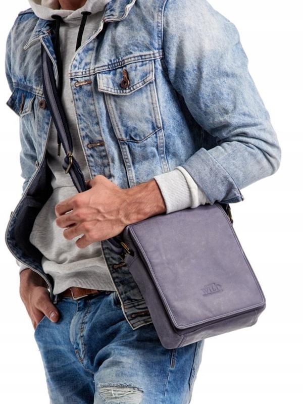 Мужская кожаная сумка темно-синяя 2495