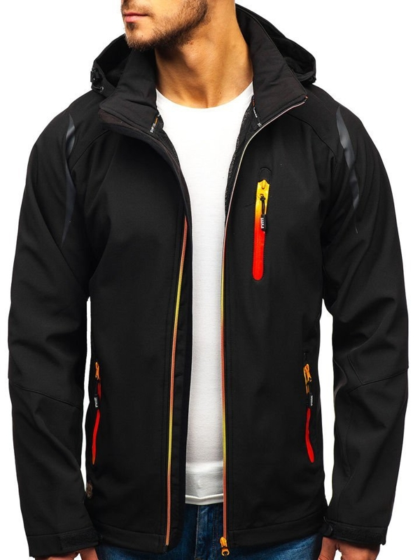 Мужская куртка софтшелл черная Bolf ZS202