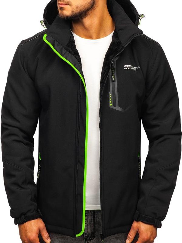 Мужская куртка софтшелл черно-зеленая Bolf BK155