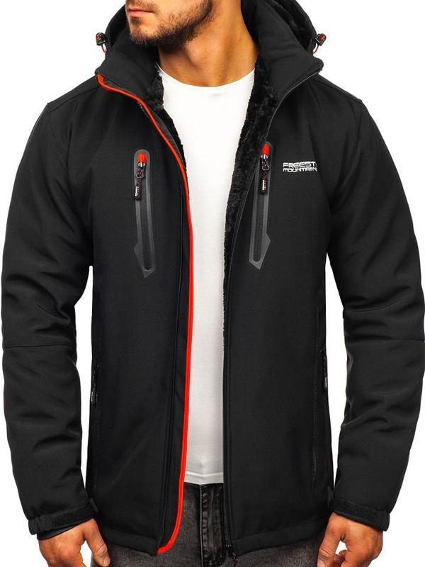Мужская куртка софтшелл черно-красная Bolf BK061