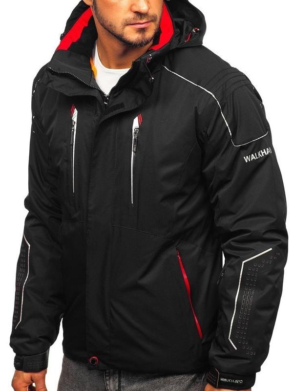 Мужская лыжная куртка черно-красная Bolf A5624