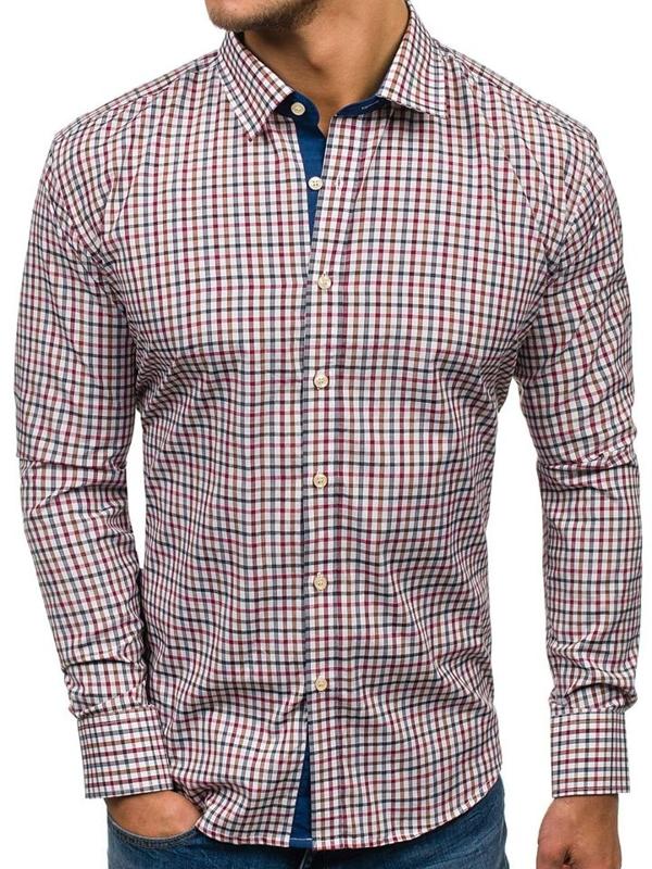 Мужская рубашка в клетку с длинным рукавом темно-сине-красная Bolf GET6