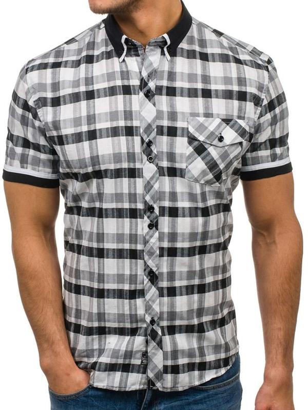 Мужская рубашка в клетку с коротким рукавом черно-белая Bolf 5202