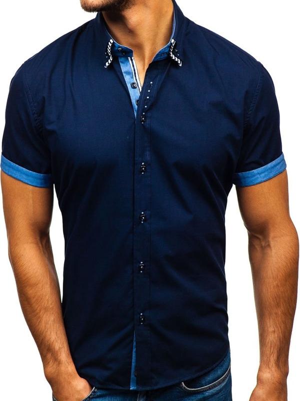 Мужская рубашка с коротким рукавом темно-синяя Bolf 2911-1