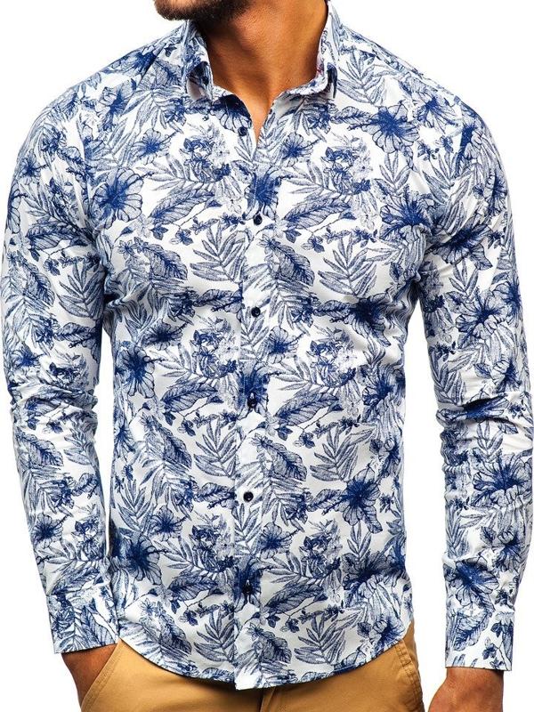 Мужская рубашка с узором с длинным рукавом бело-темно-синяя Bolf 200G65
