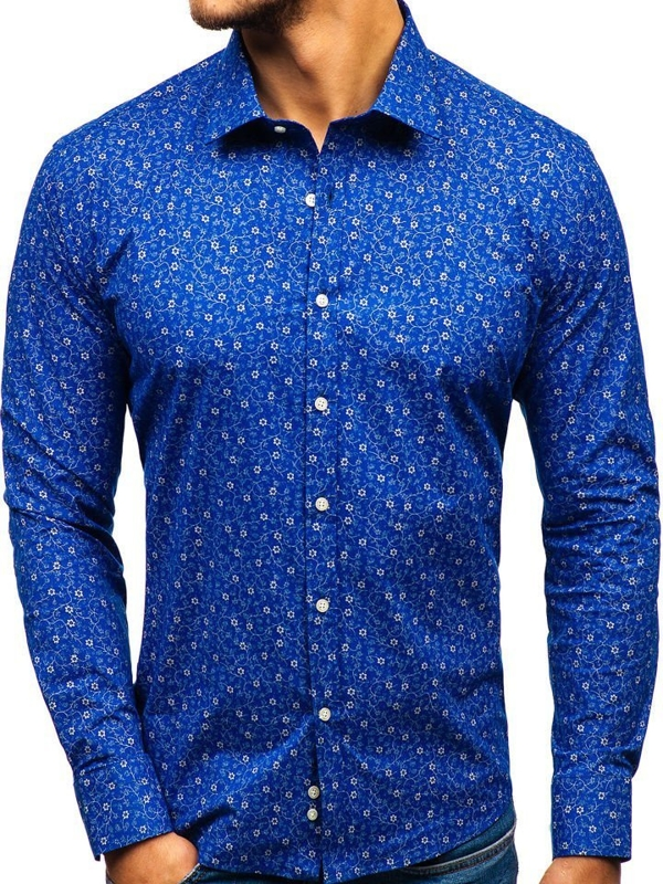 Мужская рубашка с узором с длинным рукавом синяя 201G64