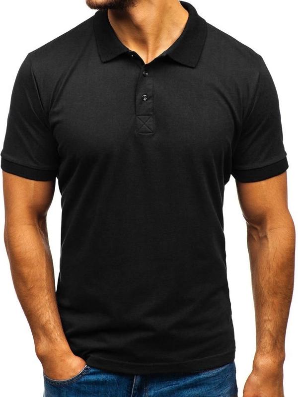 Мужская футболка поло черная Bolf 171221-1
