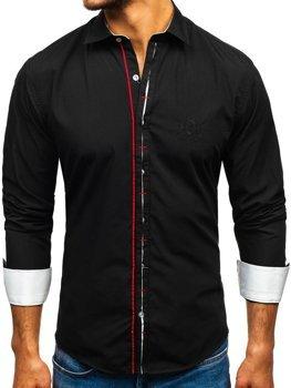 Мужская элегантная рубашка с длинным рукавом черная Bolf 1769-A