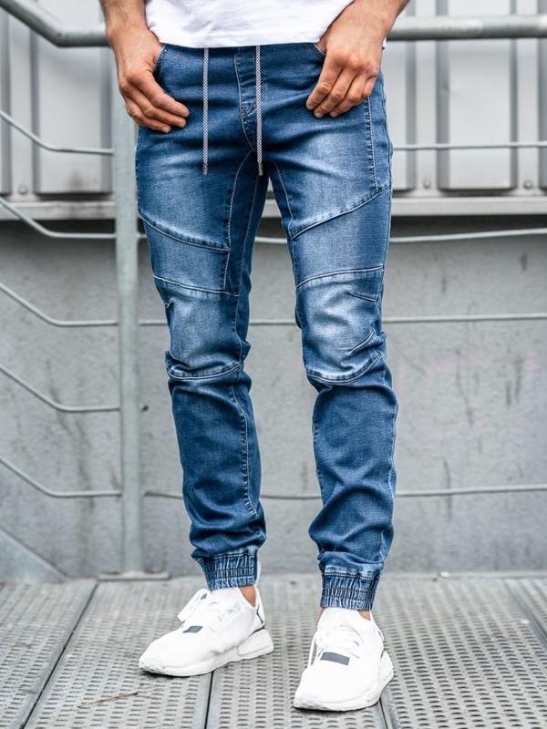 Мужские джинсовые брюки джоггеры темно-синие Bolf KA530