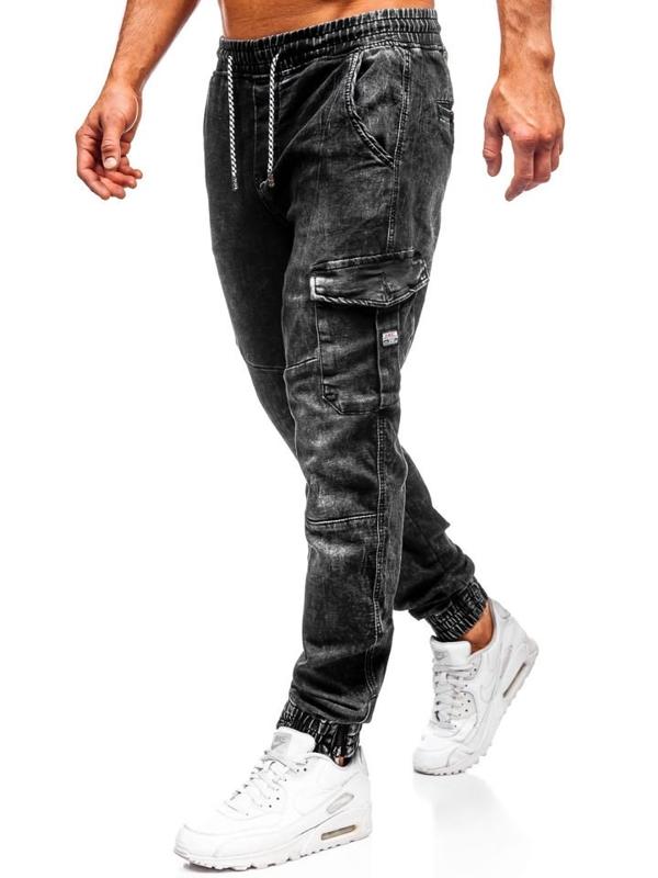 Мужские джинсовые брюки джоггеры черные Bolf  KA686-4
