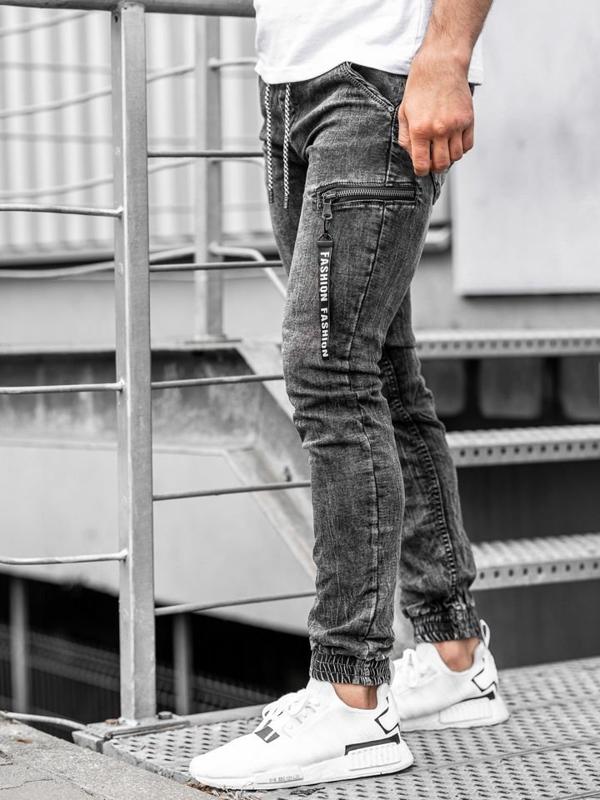 Мужские джинсовые брюки джоггеры черные Bolf KA689-2