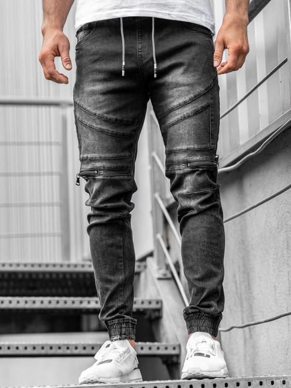 Мужские джинсовые брюки джоггеры черные Bolf  KA763